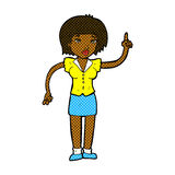 Comic cartoon woman with idea Stock Photography