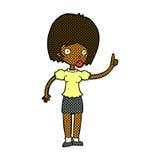 Comic cartoon woman with idea Royalty Free Stock Photography