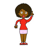Comic cartoon woman with idea Stock Images