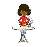 Comic cartoon woman ironing Royalty Free Stock Photos