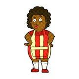 Comic cartoon woman in kitchen apron Stock Image