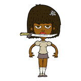 Comic cartoon woman with knife between teeth Royalty Free Stock Photo