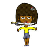 Comic cartoon woman with knife between teeth Royalty Free Stock Photos