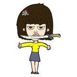 Comic cartoon woman with knife between teeth Royalty Free Stock Photos