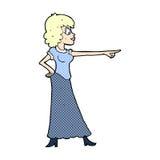 Comic cartoon woman pointing finger. Retro comic book style cartoon woman pointing finger Stock Image