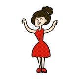 Comic cartoon woman with raised arms Royalty Free Stock Photos