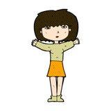 Comic cartoon woman raising arms in air Stock Photo