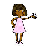 comic cartoon woman showing off engagement ring Royalty Free Stock Images