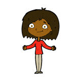 Comic cartoon woman shrugging shoulders Stock Photo