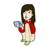 Comic cartoon woman sitting with cup of coffee Royalty Free Stock Photography