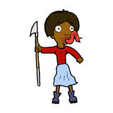 Comic cartoon woman with spear sticking out tongue Stock Photo