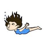Comic cartoon woman swimming underwater Royalty Free Stock Image
