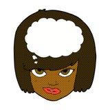 comic cartoon woman thinking Royalty Free Stock Photography