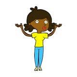 Comic cartoon woman throwing arms in air Stock Photo