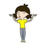 Comic cartoon woman throwing arms in air Stock Photos