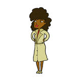 Comic cartoon woman in trench coat Royalty Free Stock Photo