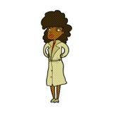Comic cartoon woman in trench coat. Retro comic book style cartoon woman in trench coat royalty free illustration