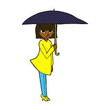 Comic cartoon woman with umbrella Royalty Free Stock Images