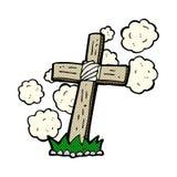 comic cartoon wooden cross grave Stock Photos