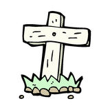 comic cartoon wooden cross grave Royalty Free Stock Photos