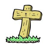 Comic cartoon wooden cross grave Stock Images