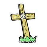 Comic cartoon wooden cross grave Royalty Free Stock Image