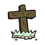 Comic cartoon wooden cross grave Royalty Free Stock Photo