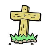 Comic cartoon wooden cross grave Stock Photo