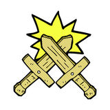 Comic cartoon wooden sword fight Stock Photography