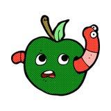 Comic cartoon worm in apple Stock Image