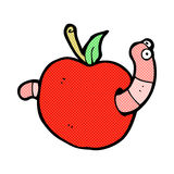 Comic cartoon worm in apple Royalty Free Stock Images