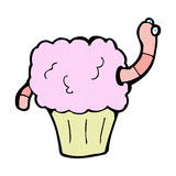 Comic cartoon worm in cupcake Stock Images