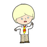 Comic Cartoon Worried School Boy Raising Hand