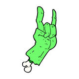 comic cartoon zombie hand making rock symbol Stock Images