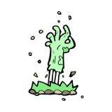 comic cartoon zombie hand rising from ground Stock Image