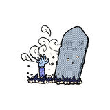 Comic cartoon zombie rising from grave Royalty Free Stock Images
