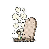 Comic cartoon zombie rising from grave Stock Photos