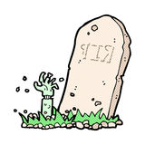 Comic cartoon zombie rising from grave Stock Images