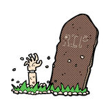 Comic cartoon zombie rising from grave Royalty Free Stock Photo