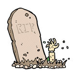 Comic cartoon zombie rising from grave Royalty Free Stock Photos