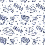 Comic cartoons fast food. Seamless sketch. Stock Image