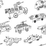 Comic cartoons of military cars. Seamless background. Stock Photo