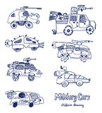 Comic cartoons of military cars. Vector set. Royalty Free Stock Image