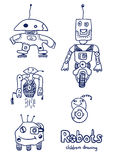 Comic cartoons Robots. Vector sketches set. Really children`s drawing Royalty Free Stock Photography