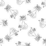 Comic cat pattern hand drawn. Object isolated on white. Stock Images