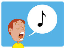 Comic character Man singing Royalty Free Stock Photography