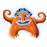 Comic character, vector funny alien monster. Emotional expressio Stock Photography