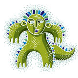 Comic character, vector funny green alien monster. Emotional exp Royalty Free Stock Photo