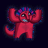 Comic character, vector red angry alien monster. Emotional expre Royalty Free Stock Photo