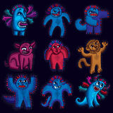 Comic characters, set of vector funny alien monsters. Emotional Stock Image